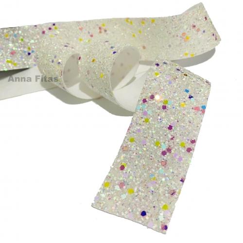 Lonita glitter Flocado de 38mm por 1metro Branca com Brilhos REF-38B2