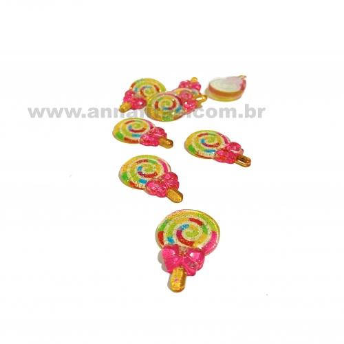Aplique em acrílico Pirulito Colorido laço Rosa 3,2x2,1cm (Por unidade) Ref- TAC06