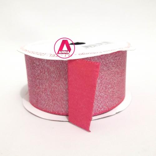 Fita Lurex Sinimbu 38 mm Dupla Face 10 Metros Cor-19 Rosa Chiclete
