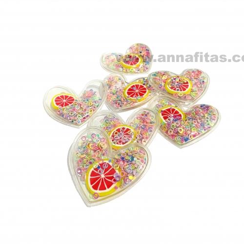 Aplique em Plástico transparente CORAÇÃO LANTEJOLAS COLORIDA COM LARANJA 4,5x5cm (Vendido por Unidade) Ref: TCOR72