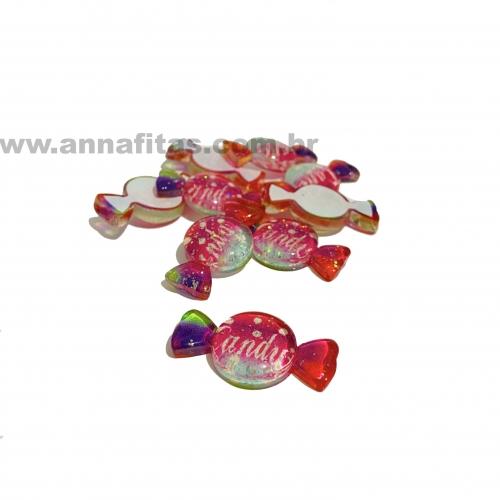 Aplique em acrílico Bala Candy 3,5x2cm (Por unidade) Ref- TAC07