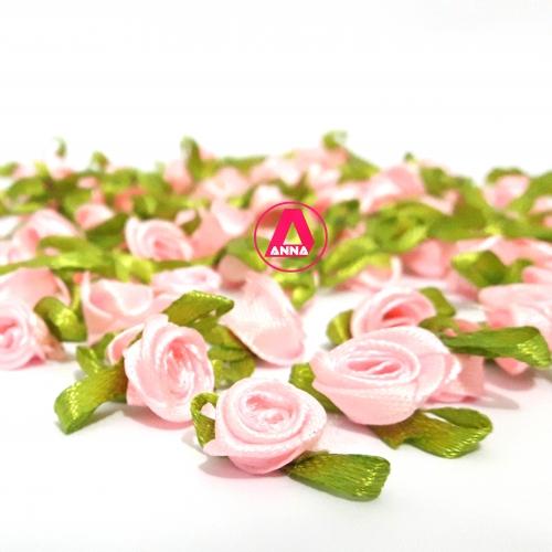 Aplique Flor de Rococó Rosas de Cetim com Folhas 1,5cm 100 unidade/ ROSA BEBÊ  Ref 4