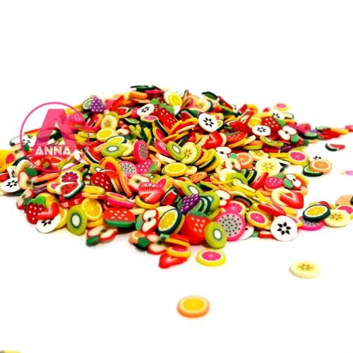 Aplique Mini Frutinhas Cores diversas pacote 15 Gramas aproximadamente 330 unidades