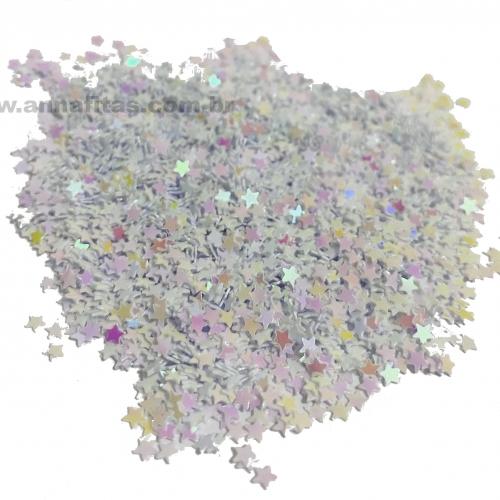 Apliques Confetes Paetê Estrela de 3mm com 15 gramas Cor BRANCO FURTA COR Ref - CONF1BR
