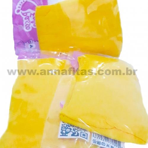 Pacote com 5 Unidade Meia de Seda Passo Fofo Amarelo Sol  Cor-13