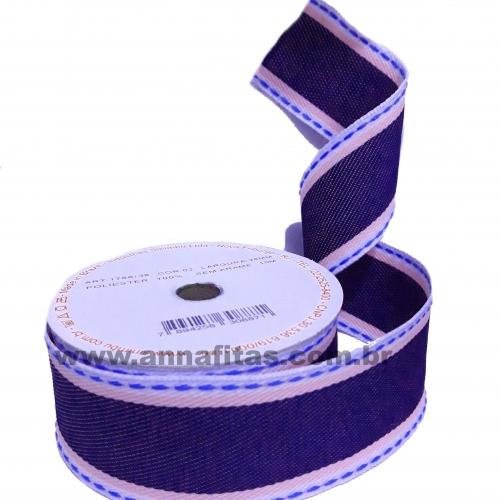 Fita Jeans Com Rosa Pespontada Sinimbu de 38mm Com 10 Metros Cor- 02 Ref:1786-38