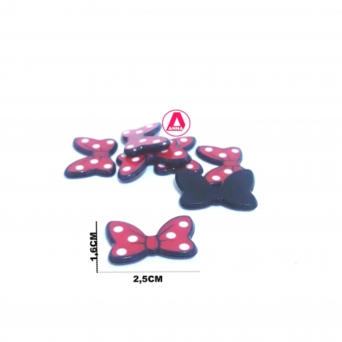 Aplique de Acrílico Minie Vermelho com Bolinhas Branca
