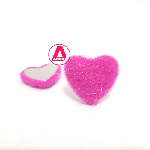 Coração Felpudo com Metal Altura 2,5 e Largura 2,5 Rosa Pink Unidade Ref:32