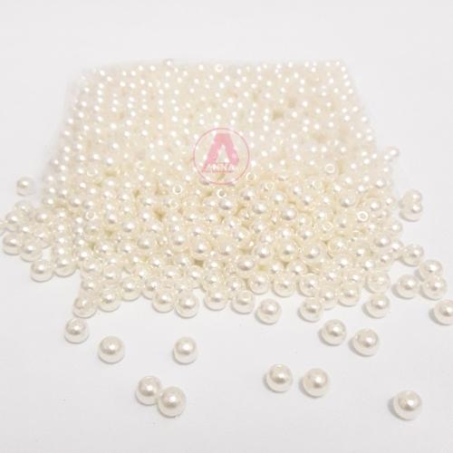 Perola ABS Furo Passante 5mm com 100 gramas Cor Pérola Ref: 224