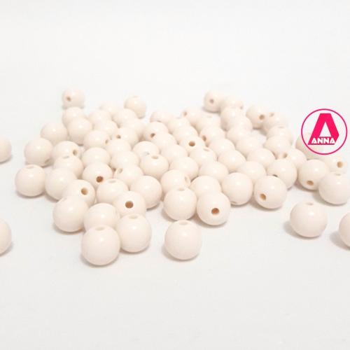 Bolas Leitosas Furo Passante Tam- 8mm Pacote com 50gramas Marfim Cor -015