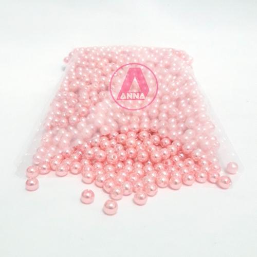 Perola ABS Furo Passante 5mm com 100 Gramas Rosa Claro Ref: 337